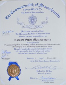 MA House of Rep. recognition