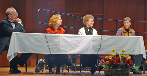 Left to Right: Dr. Robert Eaton, Pamela Marshall, Alene Cole as Amy Beach, Dr. Gwyneth Walker
